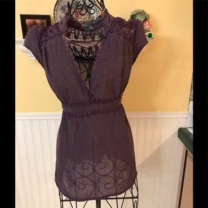 Poetry gorgeous purple blouse tie back Sz lg